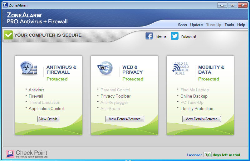 Windows 7 ZoneAlarm Pro Antivirus + Firewall  2015 13.4.261.000 full