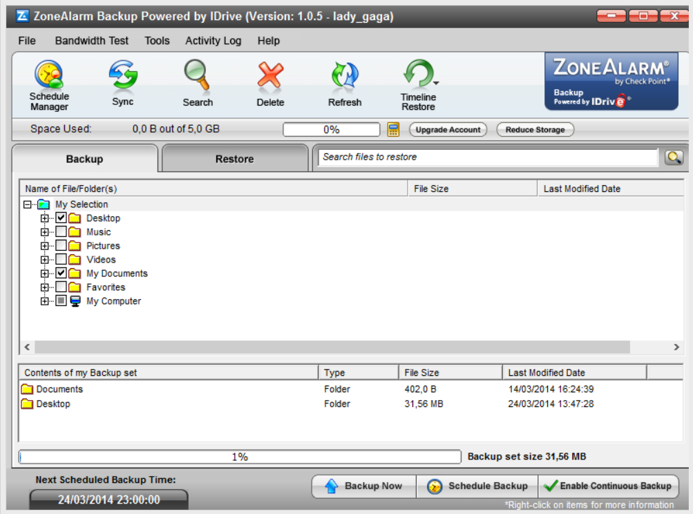 ZoneAlarm's Online Backup safeguards your critical data using secure, automated process.