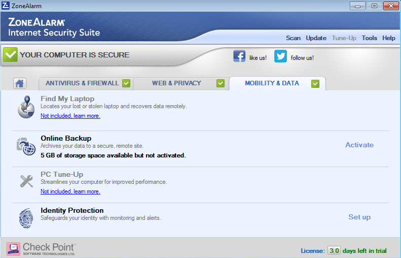 ZoneAlarm Internet Security Screenshot