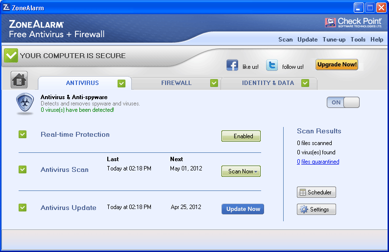 The Antivirus panel shows you at a glance how ZoneAlarm Antivirus and Anti-spyware protects your PC, and allows you to easily preform Antivirus updates and scans.