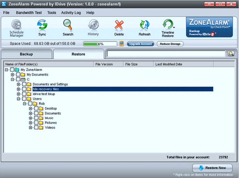 Need to retrieve your lost or damaged files? ZoneAlarm's Online Backup allows you to restore your data at any time from any location.