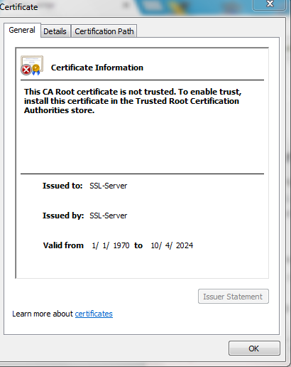 After rebooting the SMB appliance, Incorrect self-signed certificate ...