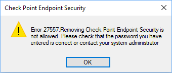 Unable to uninstall Endpoint Security Client after the unsuccessful