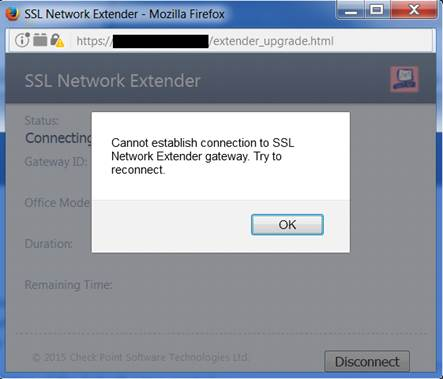 Cannot establish connection to SSL Network Extender gateway