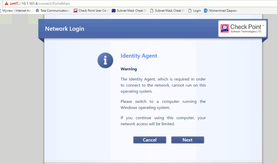 Downloading Identity Agent from Captive Portal fails with