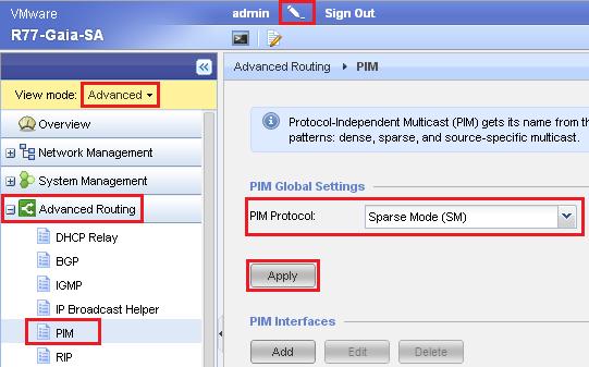 How to configure PIM on Gaia OS