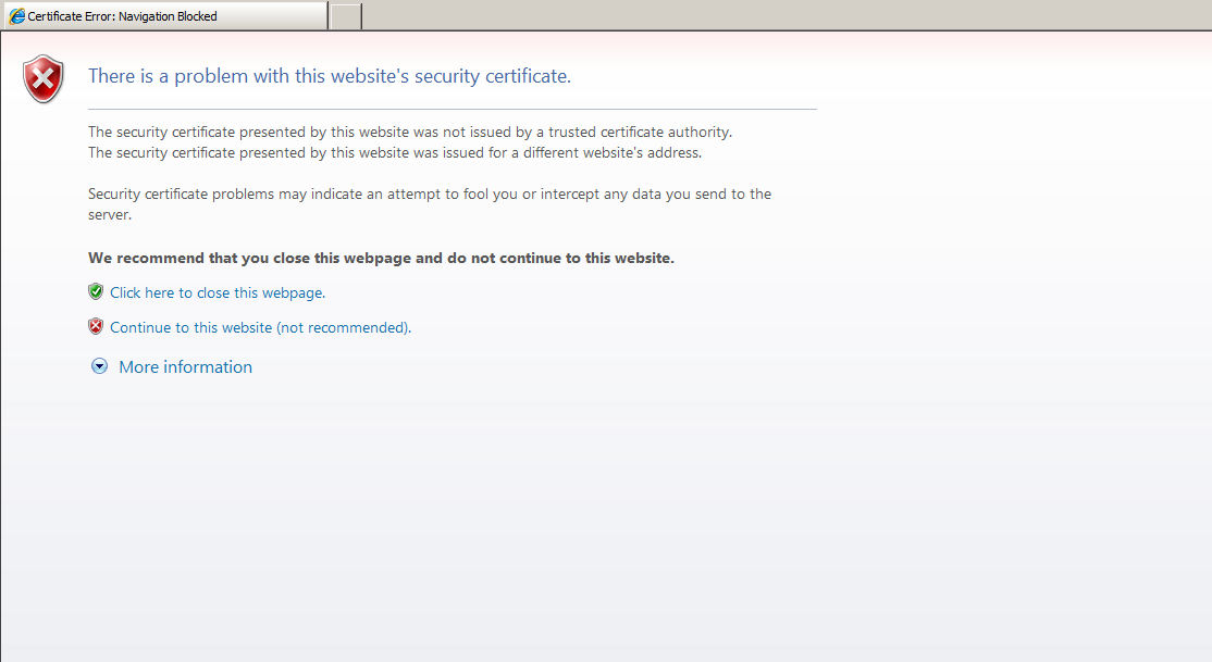 User Receives A Warning About Certificate When Accessing E80 Webrh