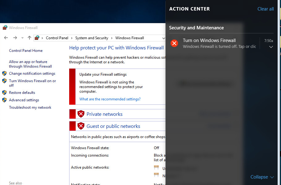 Windows 10 prompts to turn on Firewall even though Endpoint