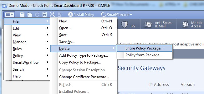How to delete an old policy package