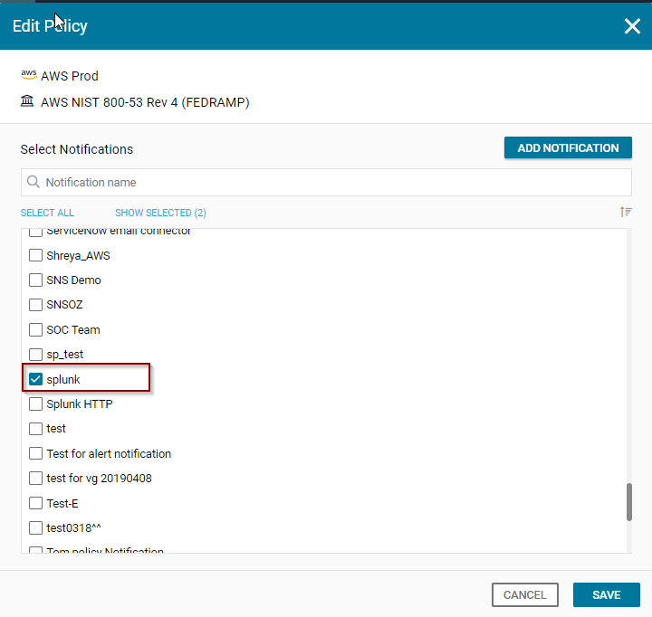 Configure Splunk as a Log system for CloudGuard Dome9