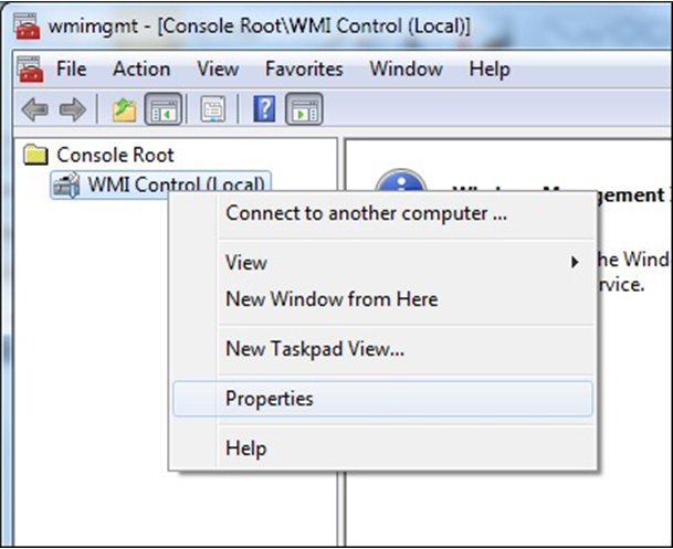how to open wmi control console
