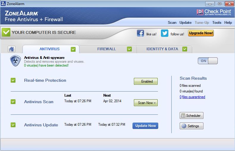 Zonealarm antivirus not updating