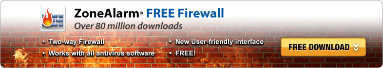 ZoneAlarm FREE Firewall, Over 80 million downloads, Two-way Firewall, Works with all antivirus software, New User-friendly interface, FREE! Download Now